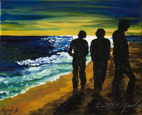 promenade sur la plage à Sête, 27/22cm oil on canvas