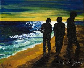 promenade sur la plage à Sête, 27/22cm oil on canvas