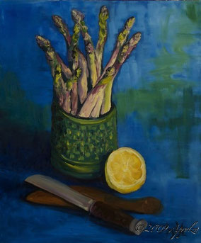 Still LIfe with Asparagus & Lemon, 55/46cm oil on canvas