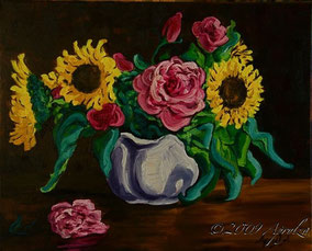 0032-Still life with Sunflowers & Roses, 50/40cm oil on canvas
