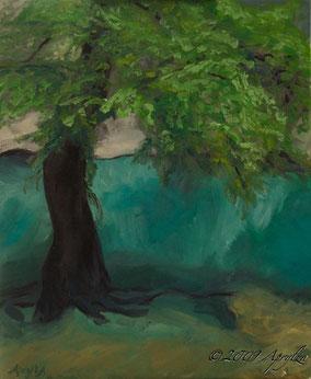 La Source de la Fontaine de Vaucluse, 46/38cm oil on canvas