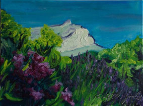 0045-la Ste Victoire with Oleander and Lavender, 40/30cm oil on canvas