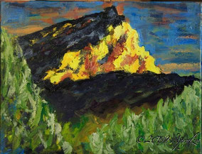 0033-la Ste Victoire, summer evening, 35/27cm oil on canvas