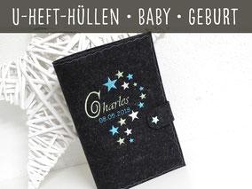 U-Hefthülle U Heft Hülle Name Sterne Filz Geschenk Baby Geburt Taufe Babyparty Geburtstag Baby