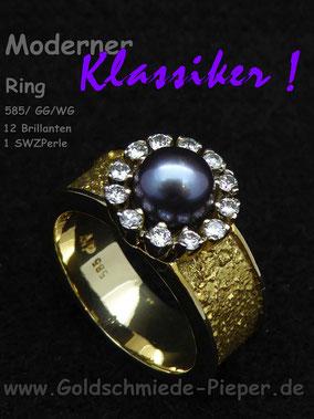 Ring, Gold 585 mit Perle und Brillanten