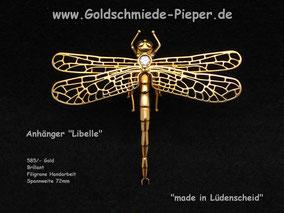 Anhänger Libelle, Gold und Brillant
