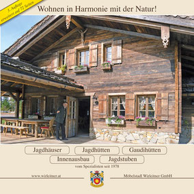 Katalog mit vielen wichtigen und interessanten Informationen über Jagdhäuser und Jagdhütten -  72 Seiten im Format 30x30 cm für Sie!