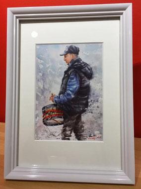 "Aquarelle 20 x 30 cm Reproduction ""Tamboureur""   - 30€"