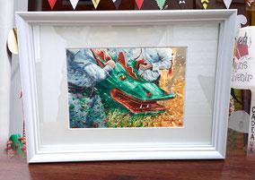 """Aquarelle 20 x 30 cm Reproduction """"Tête de dragon""""   - 30€"""