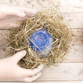 Straw around a bowl for the concrete hay Easter nest by PASiNGA