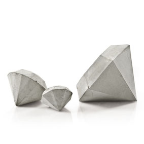 Set of 3 Concrete Diamonds, natural concrete by PASiNGA