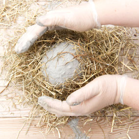 Hay reinforced concrete DIY Easter nest bowl by PASiNGA