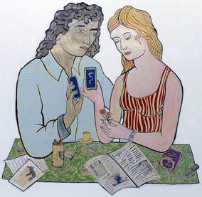 "Moritz Götze,  ""Das Gothaer Paar"", 2013, Emaillienmalerei, 170 x 170 cm"