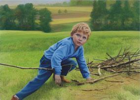 "DIANA RATTRAY  ""Gathering Fuel"", 2014 Pastelle / Papier 100 x 140 cm"