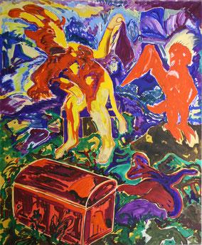 "Alfred Klinkan,  ""Geschlossene Garagentruhe"", 1982, Öl/Leinwand,  200x160cm"