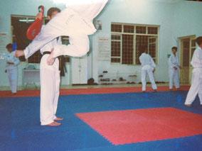 【ハノイ】テコンドー習った。飛んでるのがオレ。