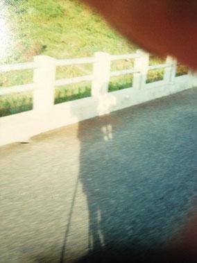 【ラオス】バスでルアンパバーンへ。バスの外に立ってる自分の陰