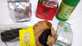 飲み終わる前に買うからお茶が少しずつ増えていく。太平猴魁,黄山毛峰,祁门红茶,普洱茶,菊花茶,苦丁茶。