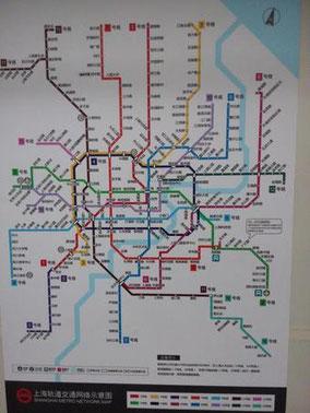 上海地下鉄マップ。