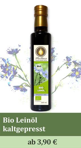 Bio-Leinöl, Leinöl, regional, kaltgepresst, Ölmühle, Bio-Ölmühle, Bio-Öle, schonende Pressung