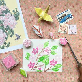 Tampons Sakura cerisier du Japon collection Tokyo gravé main Le Héron Graveur