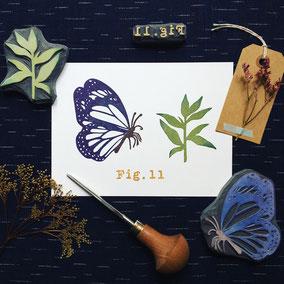 Tampon papillon gravé à la main Le Héron Graveur