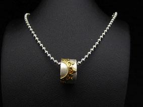 Miniring 925 Silber, Borte Gold