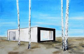 Matthieu van Riel Schilderijen. 1998-2021 Landschap met paviljoen en berken 106x162cm olie op canvas 2021