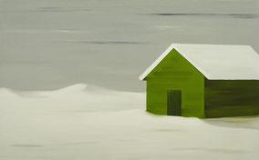 Matthieu van Riel Schilderijen. Hut in sneeuw 100x160cm olie op canvas 2001