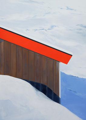 Matthieu van Riel Schilderijen. Hut in sneeuw met rood dak 140x100cm flashe acryl op canvas 2020
