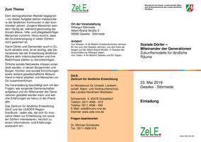 """Einladung zu der ZeLe-Veranstaltung """"Soziale Dörfer - Miteinander der Generationen"""""""