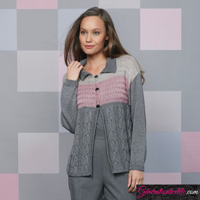 laine Katia collection Tencel-Merino modèle Cardigan à torsades
