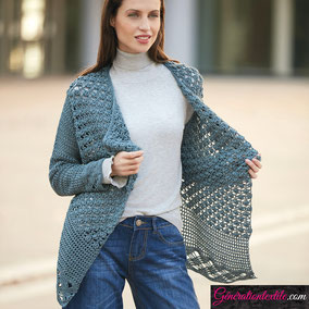 laine Katia collection Tencel-Merino modèle Cardigan au crochet