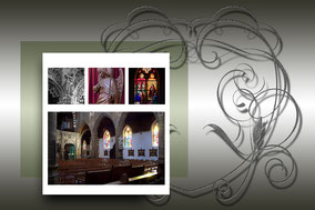 Binnenzicht van de Sint Martinuskerk van Tessenderlo. Kleurfoto;