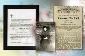 Overlijdensbrief van Regina Sas.Een oude vrouw met foto van deze vrouw .