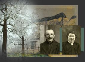 Fransçiscus Beets en Stephanie Noels -Stephanie was afkomstig van Olmen. Twee pasfoto's in zwart-wit.