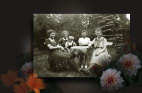 In de tuin van 't Hof-Maria Loos/Mariëtte Corvers/Margriet Beets/Martha Jans/kind onbekend.