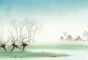 Mistig landschap met knotwilgen en enkele huisjes. Waterverfschilderij. Kleur.