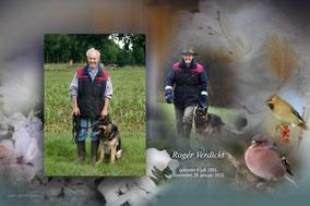 Bidprentje met twee foto's van Rogér Verdickt. Achtergrond met bloemen en vogels op de voorgrond.