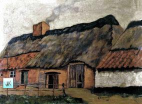 Boerderij van Sus van Bêtske-Françiscus Beets en Stefanie Noels. Deze boerderij lag niet in Schoonhees maar in de Hulsterstraat, grenzend aan Schoonhees. Ook deze boerderij bezat veel schapen. Schilderij in kleur.