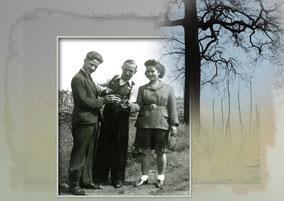 Drie personen met zelf gestookte jenever onder wereldoorlog II