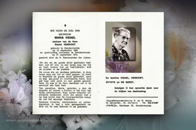 Maria Vidael-echtgenote van Désiré Verdickt  21 september 1975-moeder van Frans-Willy en Simonne Verdickt