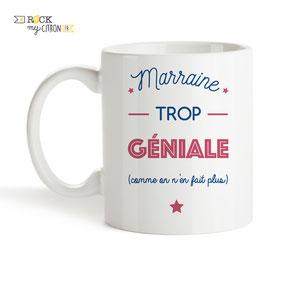 Mug à personnaliser Rock my Citron, Marraine Trop Géniale, Cadeaux Fêtes, Anniversaires, Mariages, Naissances, EVJF, EVG