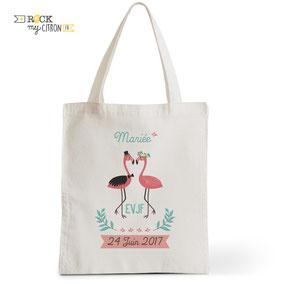 Tote Bag à personnaliser Rock my Citron, Flamingo, Cadeaux Fêtes, Anniversaires, Mariages