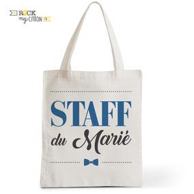 Tote Bag Mariage Rock my Citron, Staff du Marié, Cadeaux Fêtes, Anniversaires, Mariages