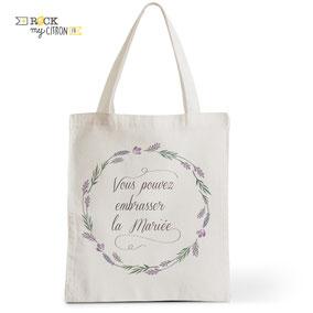Tote Bag Mariage Rock my Citron, Embrassez La Mariée, Cadeaux Fêtes, Anniversaires, Mariages