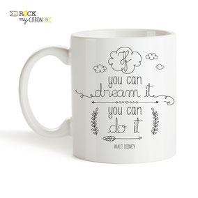 Mug Rock my Citron, Dream It, Disney, Cadeaux Fêtes, Anniversaires