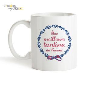 Mug à personnaliser Rock my Citron, Meilleure Tantine, Cadeaux Fêtes, Anniversaires, Mariages, Naissances, EVJF, EVG