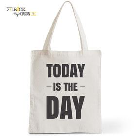 Tote Bag Rock my Citron,  Today is The Day, Cadeaux Fêtes, Anniversaires, Naissances
