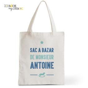 Tote Bag Rock my Citron, Bébé Cowboy, Cadeaux personnalisés Fêtes, Anniversaires, Naissances